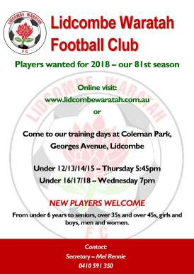 2018 Players Wanted - Lidcombe Waratah FC