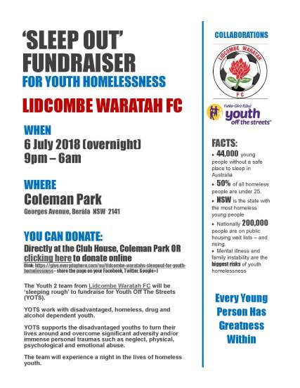 Sleept Out Flyer - Youth 2 Lidcombe Waratah FC